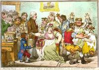 cartoon van James Gillray uit 1802: de Anti-Vaccine Society / Bron: James Gillray, Wikimedia Commons (Publiek domein)